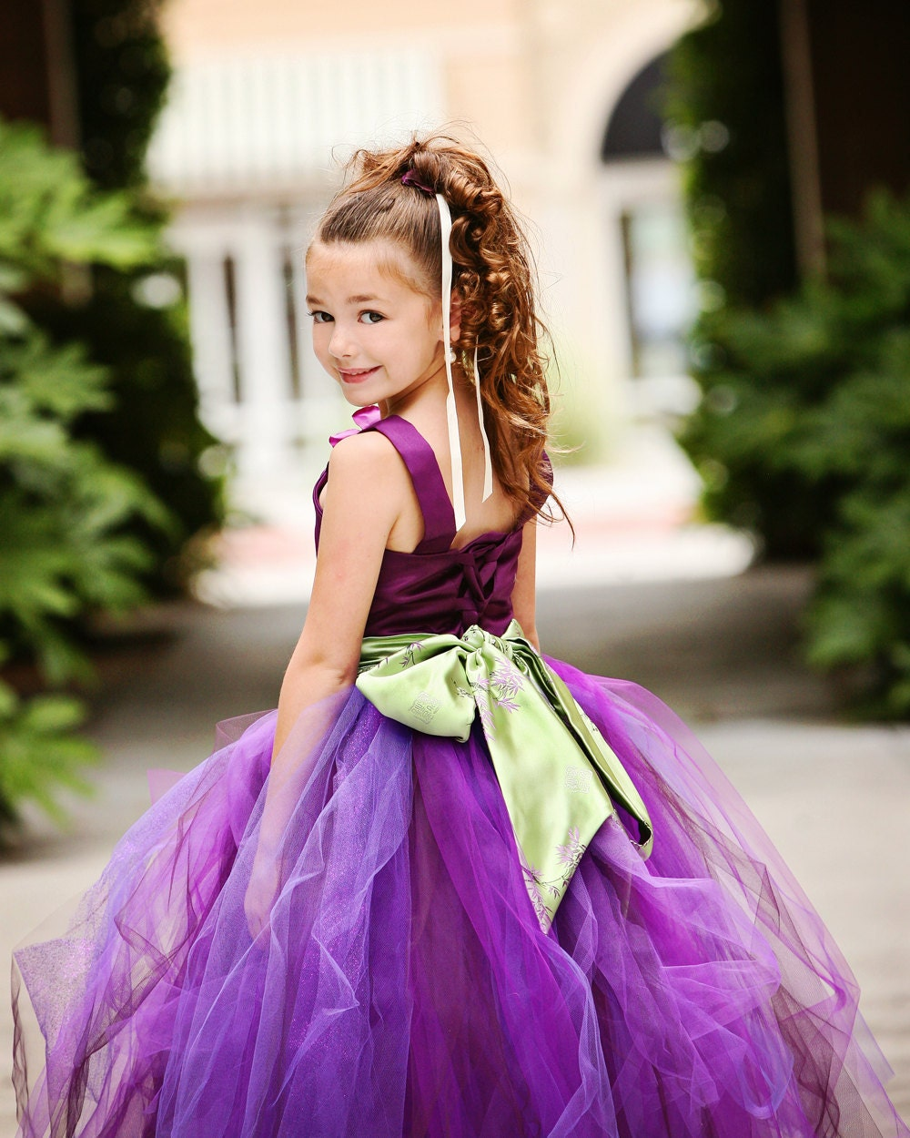 Purple Flower Girl Tutu Dress w Kimono Style Sash   <hr class=