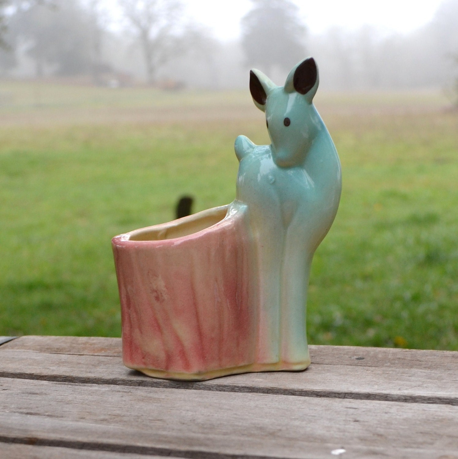 Cute Vintage  Fawn Planter in Turquoise - silkcreekgallery