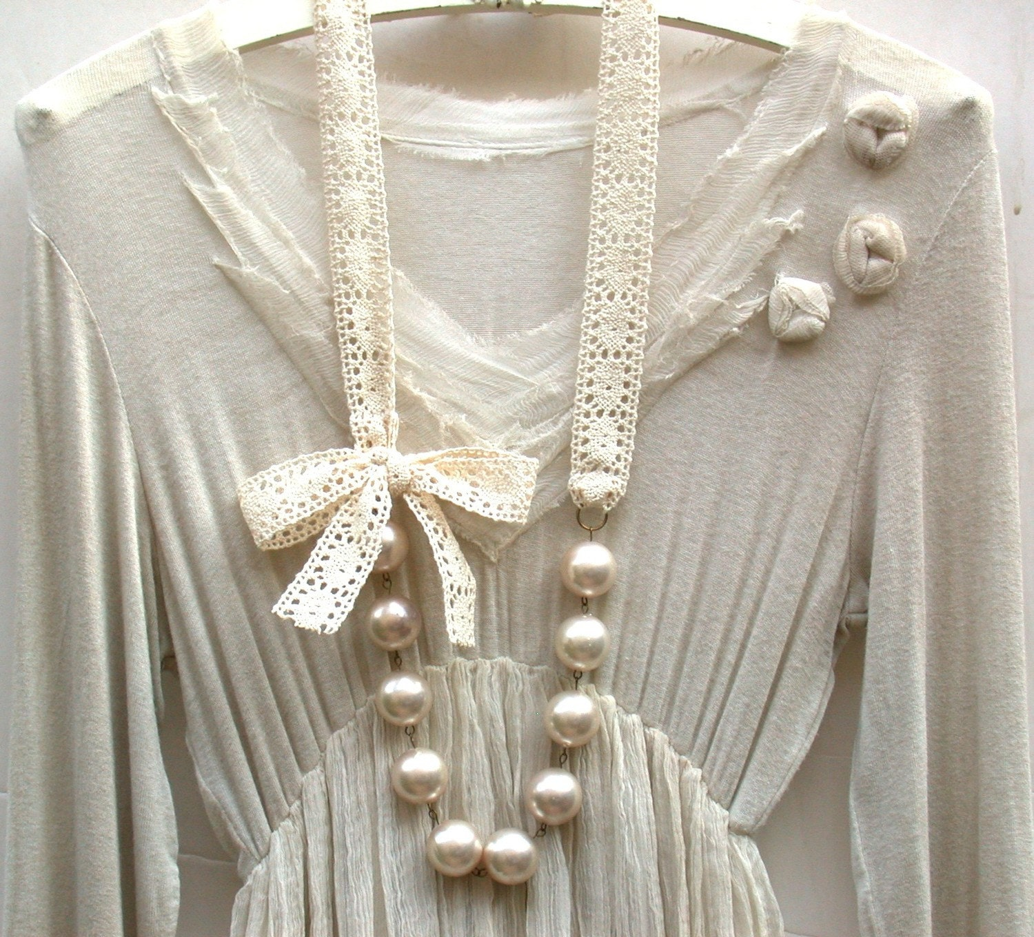 Carrie Bradshaw Inspired Giant Vintage Cream Pearls Long Necklace In Elegant Beige Crochet Cotton Lace Ribbon - roomofyourown