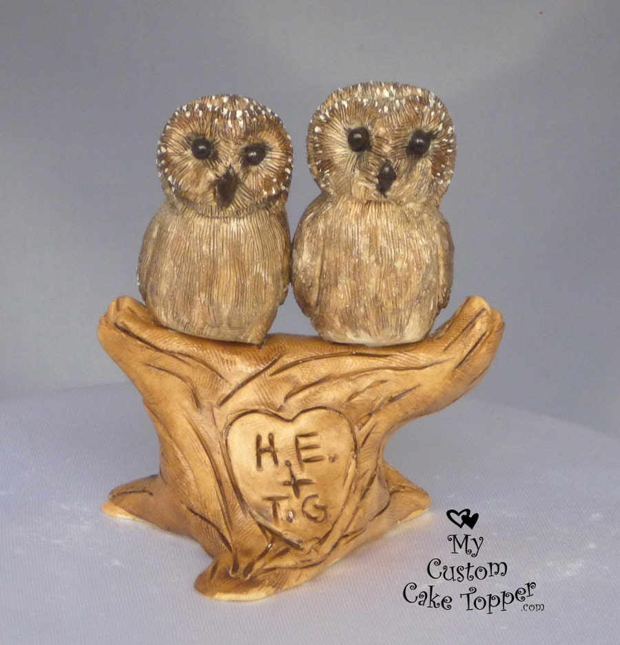 Owls in Love in a Tree Custom Wedding Cake Topper