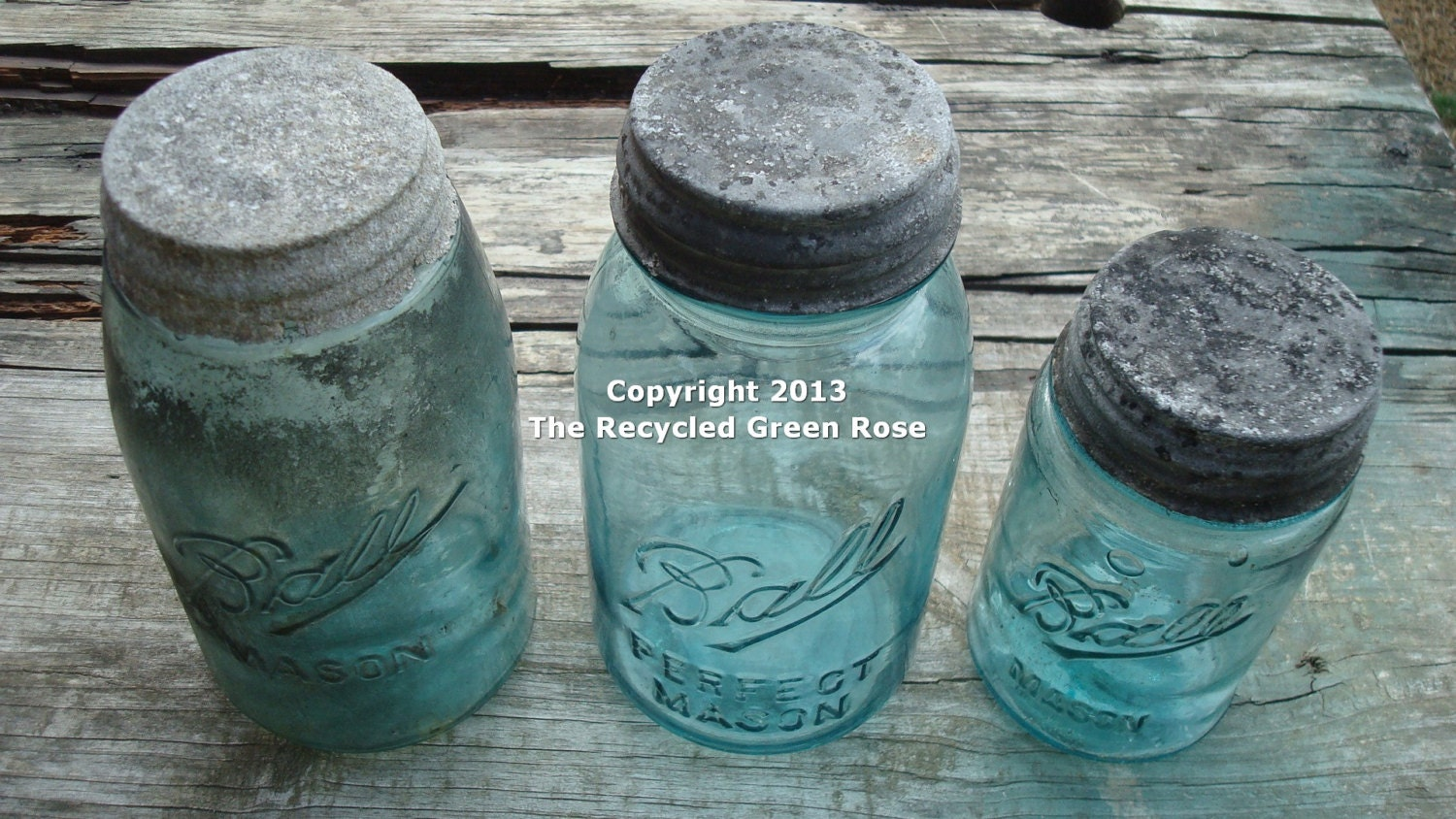Three Antique Ball Mason Jars - Blue/Green Tint - with Lids - TheRecycledGreenRose