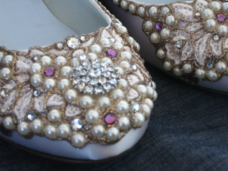 Royal Ivory Bridal Ballet Flats From BeholdenBridal