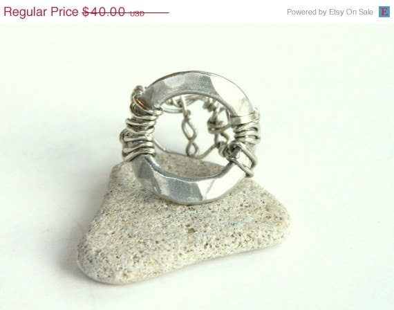 SALE Brushed Metal Circle and Wire Ring (R364)