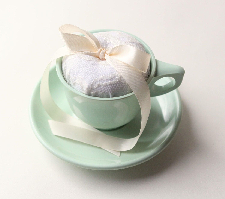 tea cup ring bearer pillow - plastic melmac, jadite green, vintage cup and saucer, wedding decor