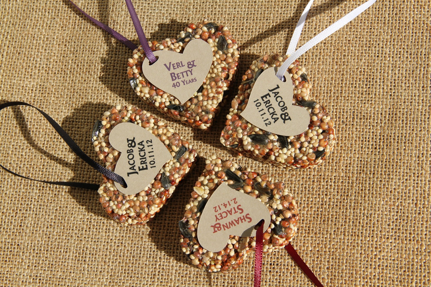 150 Bird Seed favors - hearts, personalized, eco friendly, birdseed wedding favor, love birds