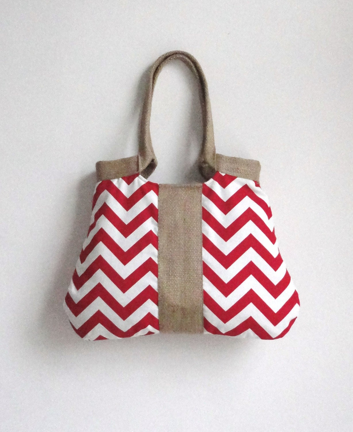 Red chevron tote bag with burlap valentine