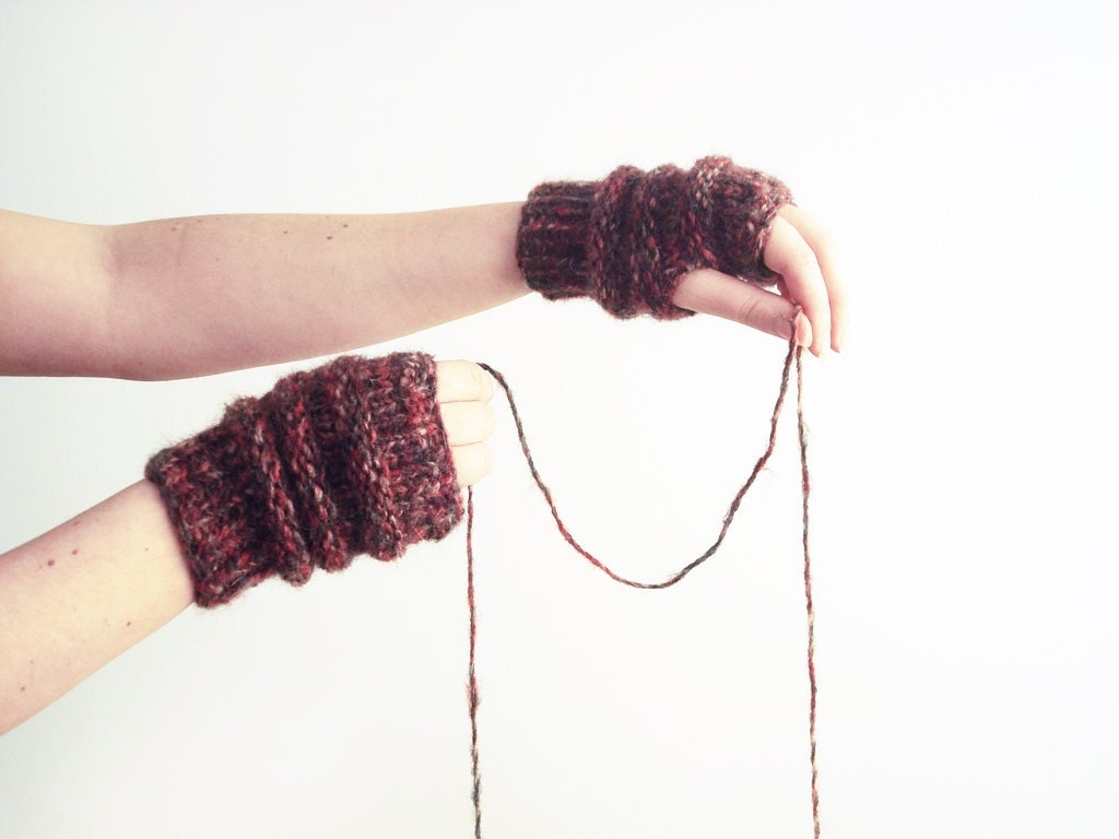 Women fingerless mittens - bordeaux knit gloves - hand warmers - alexmalexdesigns