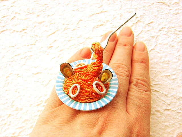 Kawaii Cute Japanese Food Ring Floating Ring Pasta With Seafood