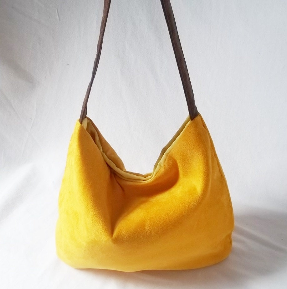 Hobo bag - Mustard yellow ultra suede hobo hand bag - Vegan Handmade handbags