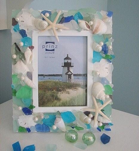 Пляж Декор Seashell Frame - Море стекла Frame W Белый Морская звезда - 5x7