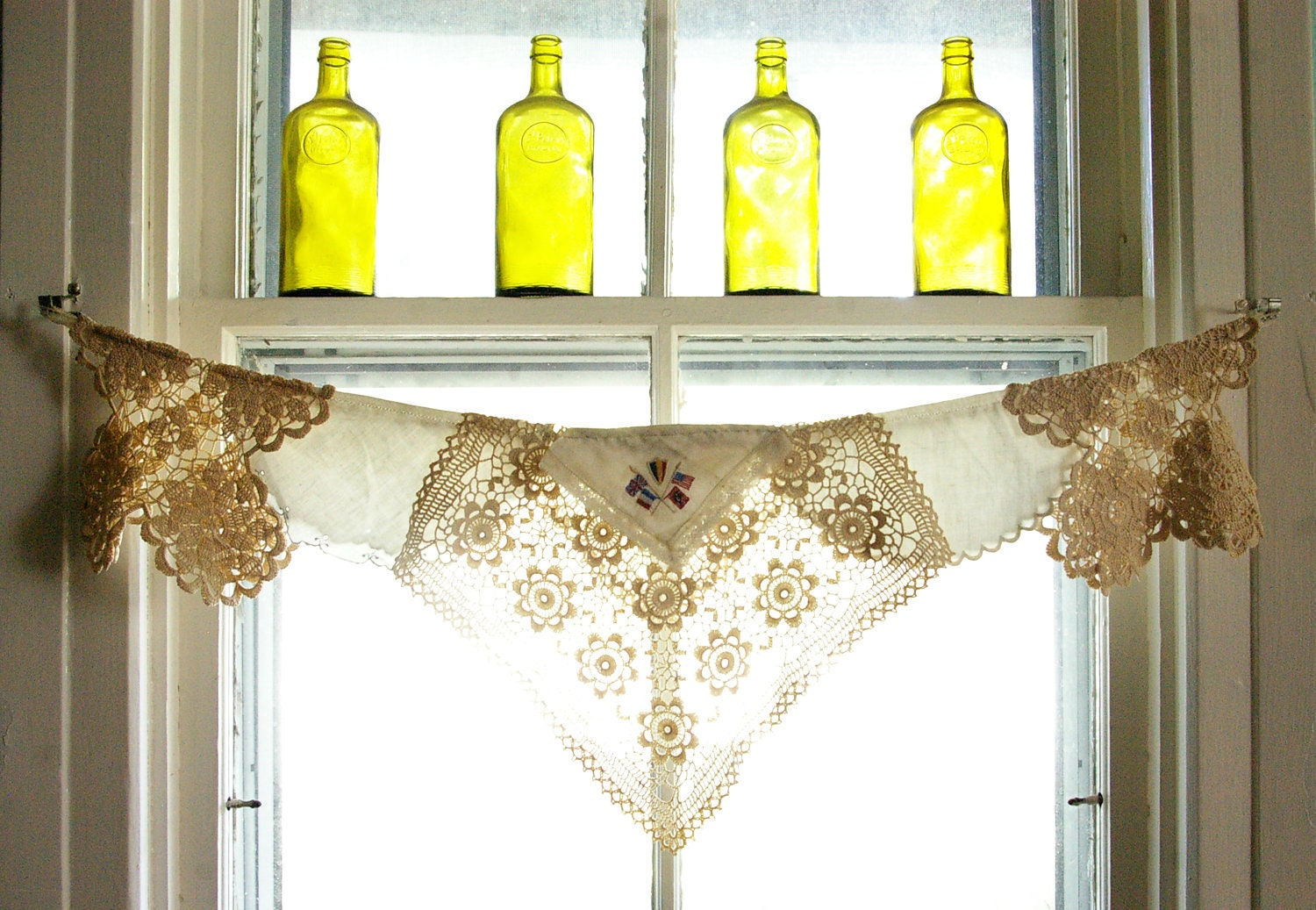 Window Valance, curtain, vintage napkins, embroidered linens, crocheted doilies, Flying the Flag - TheLittleRagamuffin