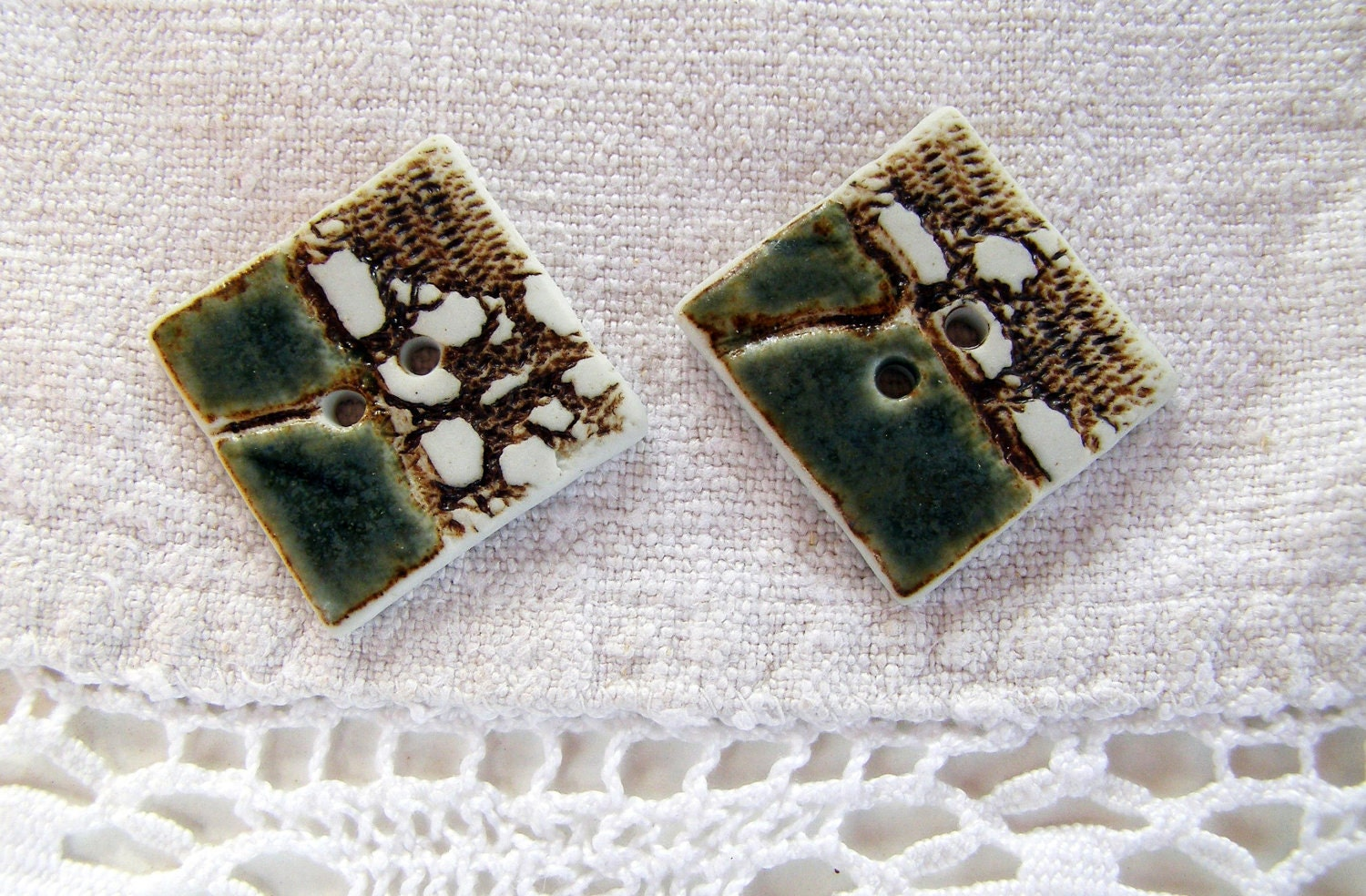 Sea green and iron porcelain,square buttons. XL.Ceramic Buttons.Sewing Buttons. - BlueMagpieDesign