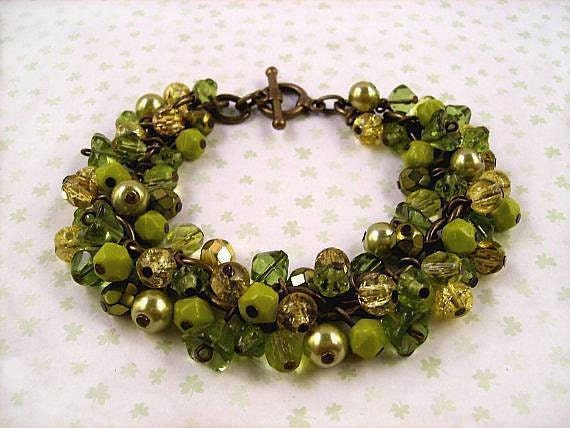 Flower Charm Bracelet - Spice of Life - Chartreuse Green, Floral and Brass Charm Bracelet - FREE Shipping Worldwide - justCHARMING