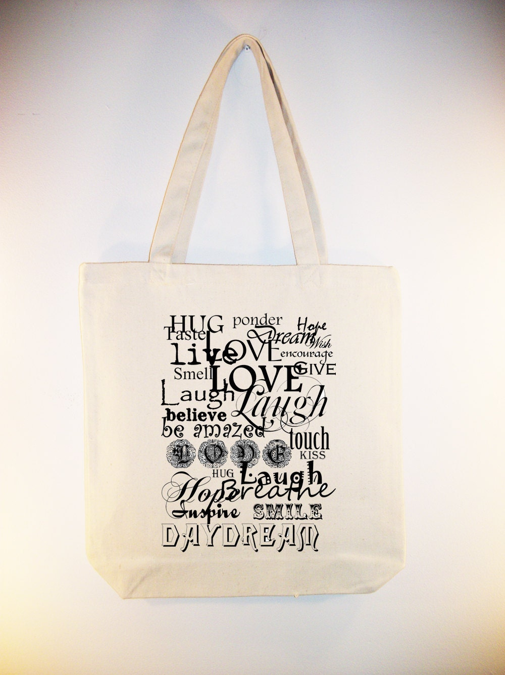 Live Laugh Love Typography Canvas Tote with Shoulder Strap - other sizes and personalizatin available
