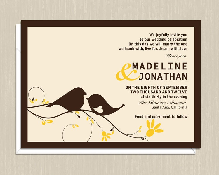 Love Birds Wedding Invitations From onereverie