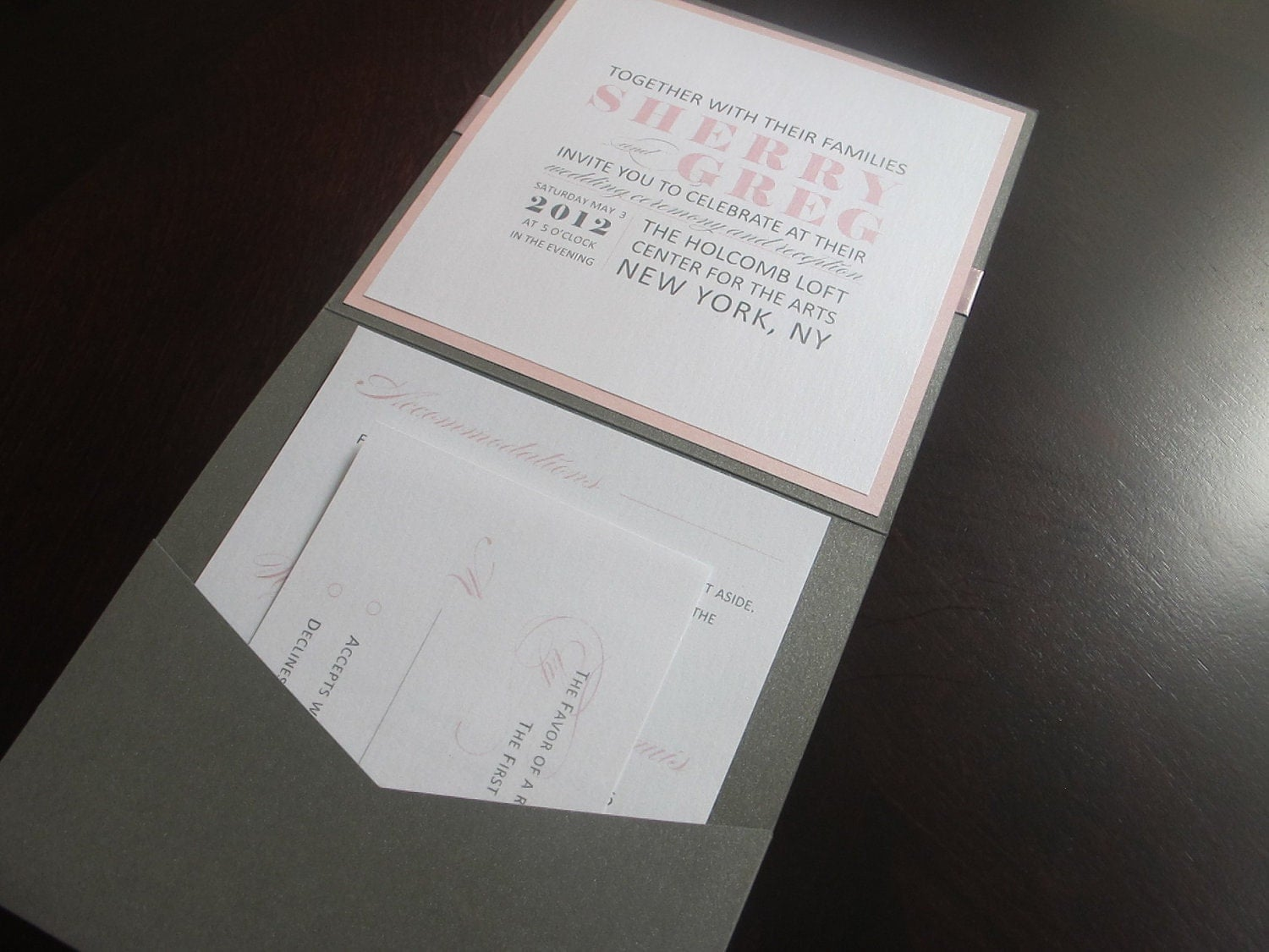 Pink Grey Pocket Invitation