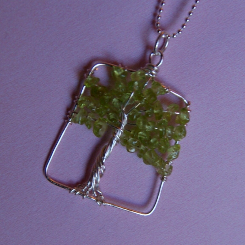 Wire Wrapped Peridot Tree Necklace