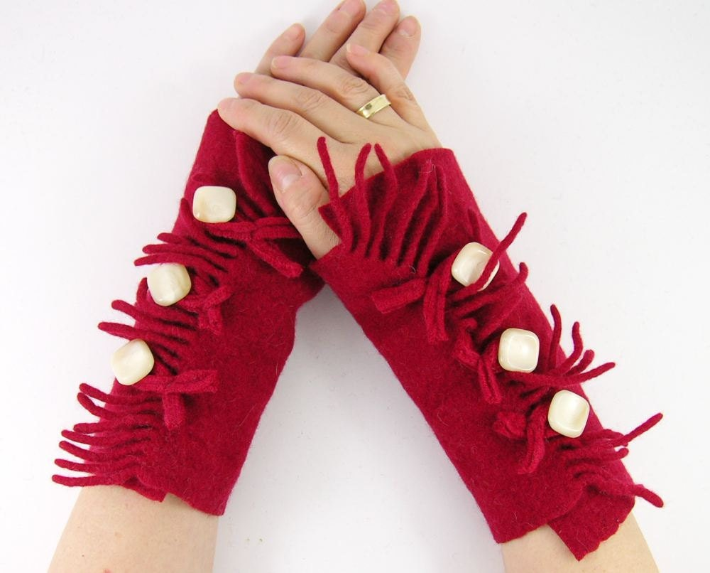 eco friendly arm warmers fingerless mittens arm cuffs fingerless gloves dark red recycled wool with fringes  curationnation