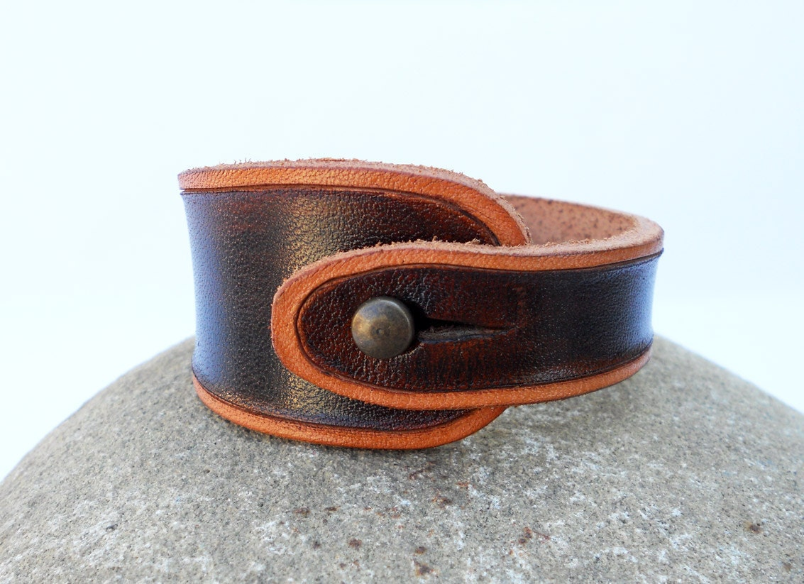 Hand Carved Leather Wristband, Walnut Brown with Tan Trim