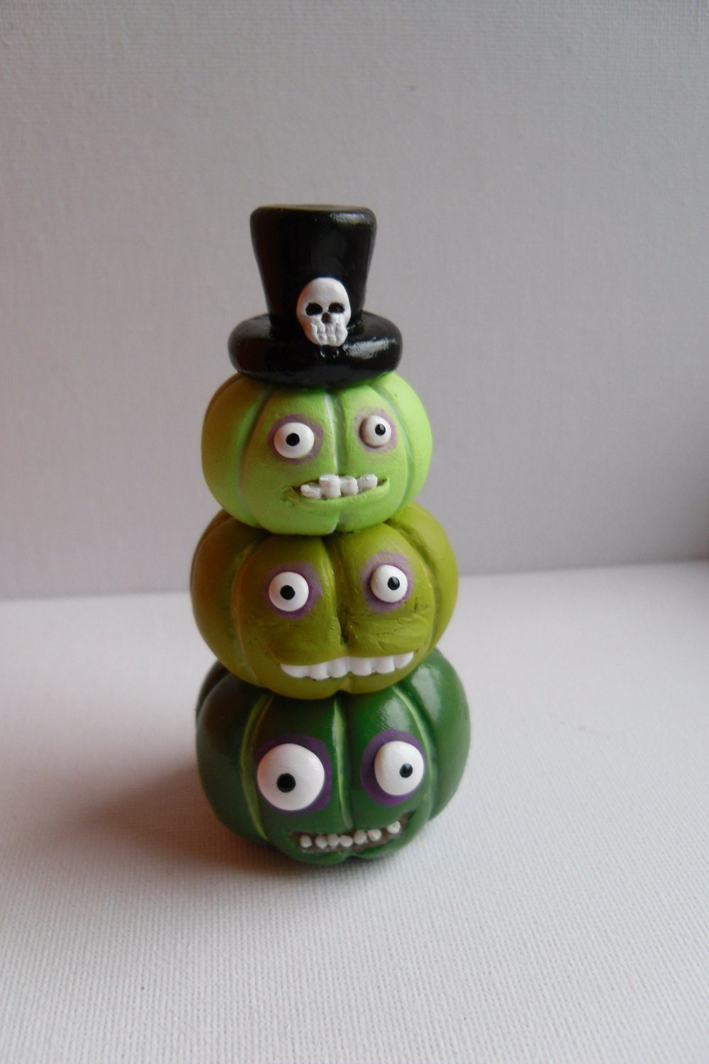 Halloween Pumpkins - The Voodoo Brothers - Stack of Three Green Pumpkins - Clay Sculptures - OOAK - Erinle