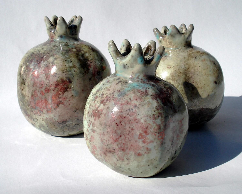 Raku Fired Ceramic Pomegranate  - Medium