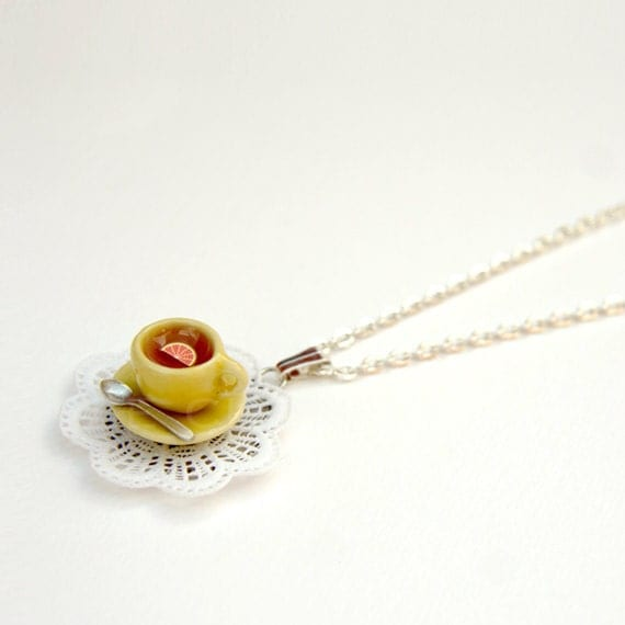 "Mustard Yellow Necklace, Tea Cup Charm  With Lace Doily ""La Petite"", Grapefruit Juice, Miniature Food Jewelry"
