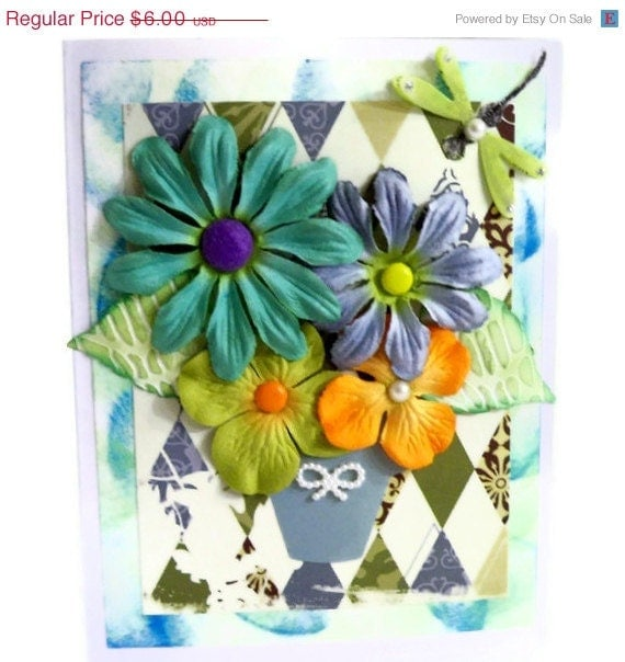CIJ SALE 15% Off Greeting Cards:  Handmade All Occasions - Spring Flower Garden (Teal/ Blue/ Green/ Purple/ Orange/ Pearls/ Blank) - AuriesDesigns
