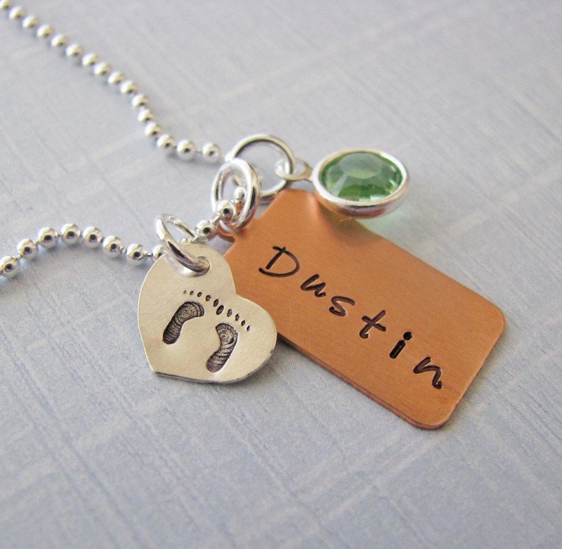 NEW - mixed metal custom baby name necklace - hand stamped with footprints and birth stone