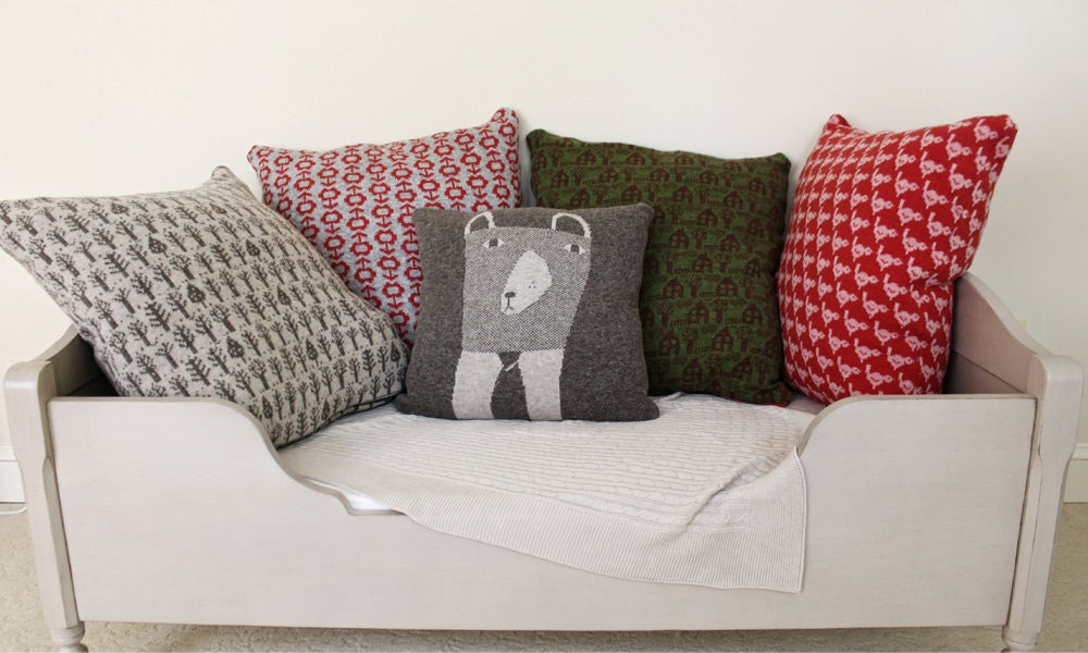 Decorative Pillow - Mrs.Bear - soft knitted pillow - brown, ecru, 18x18, includes insert