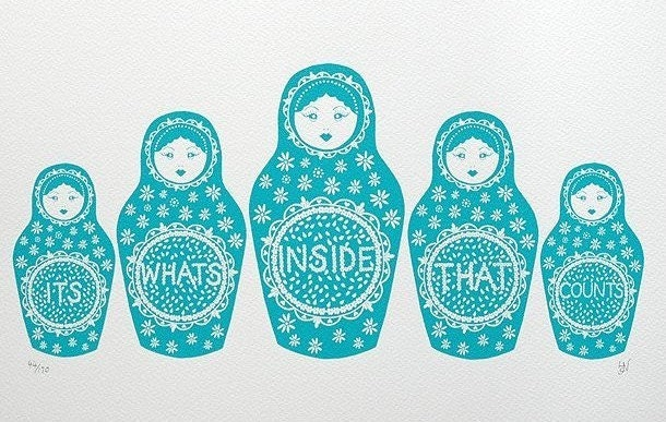 Its whats inside that counts handprinted screenprint in turquoise