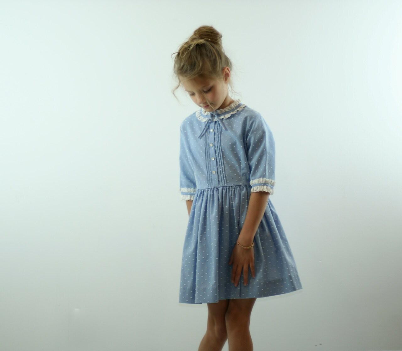 Vintage Dress in Blue 1950s - udaskids