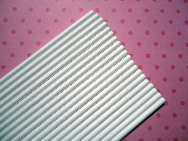 White Paper Lollipop Sticks or Cake Pop Sticks - 4 Inches (60) - SALE - SAVE 15%