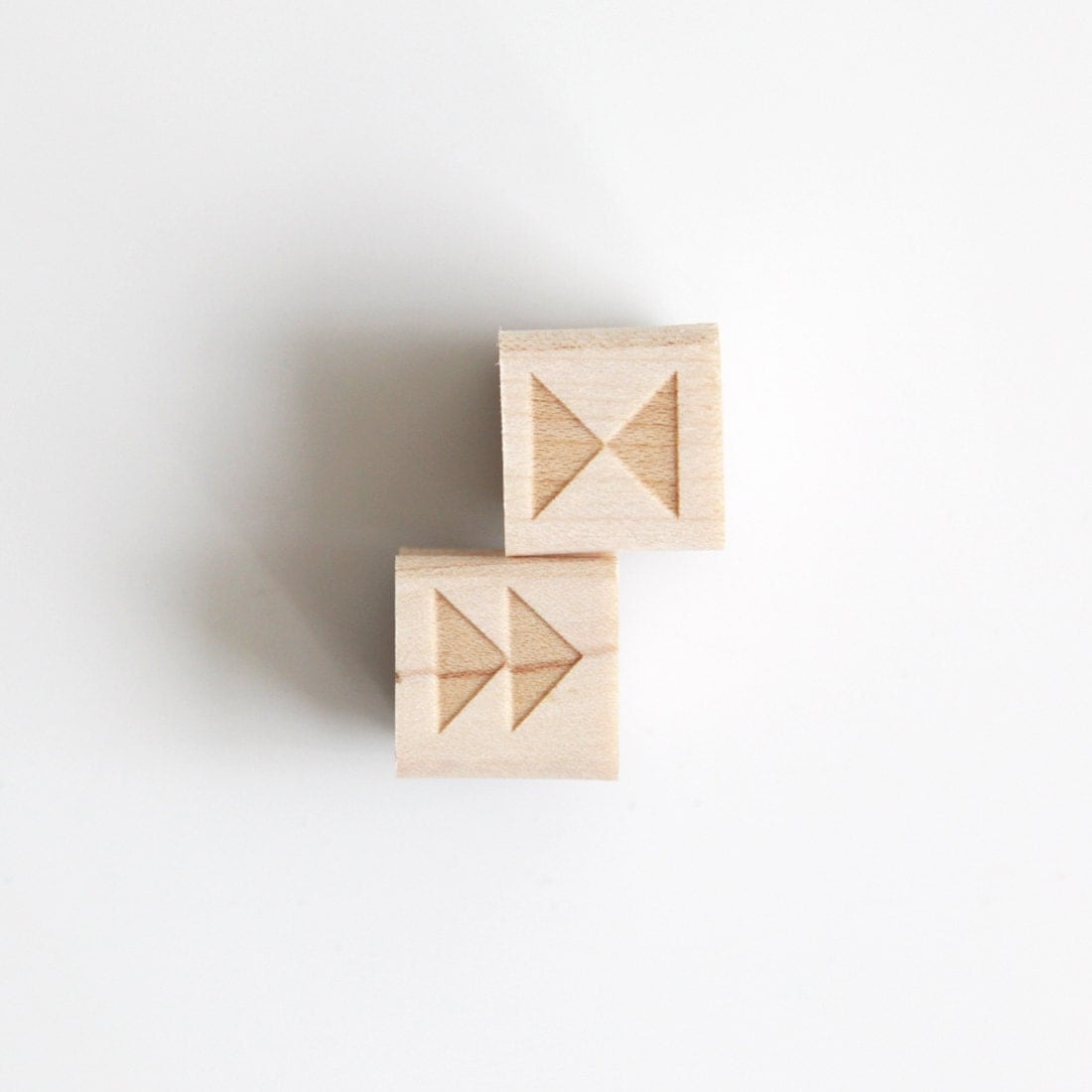 Triangle Shapes Rubber Stamp (Wood Mounted), Original Geometric Design Set of 2 - HuntersHideaway