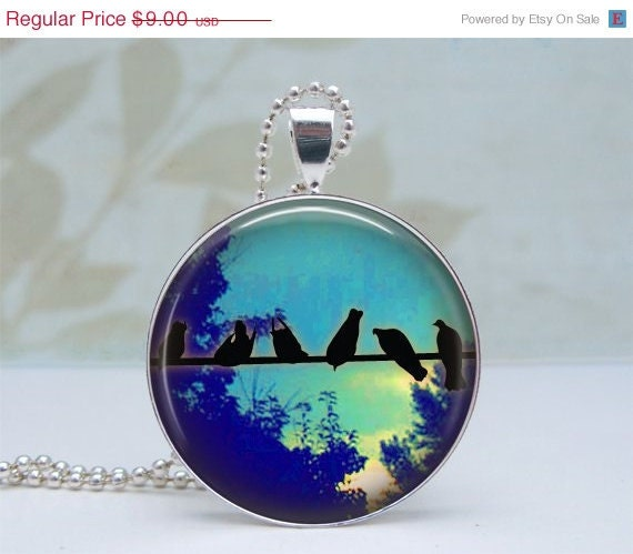 SALE Birds on Wire Pendant Glass Dome Art Pendant Silver Picture Pendant Photo Pendant Wearable Art by Lizabettas
