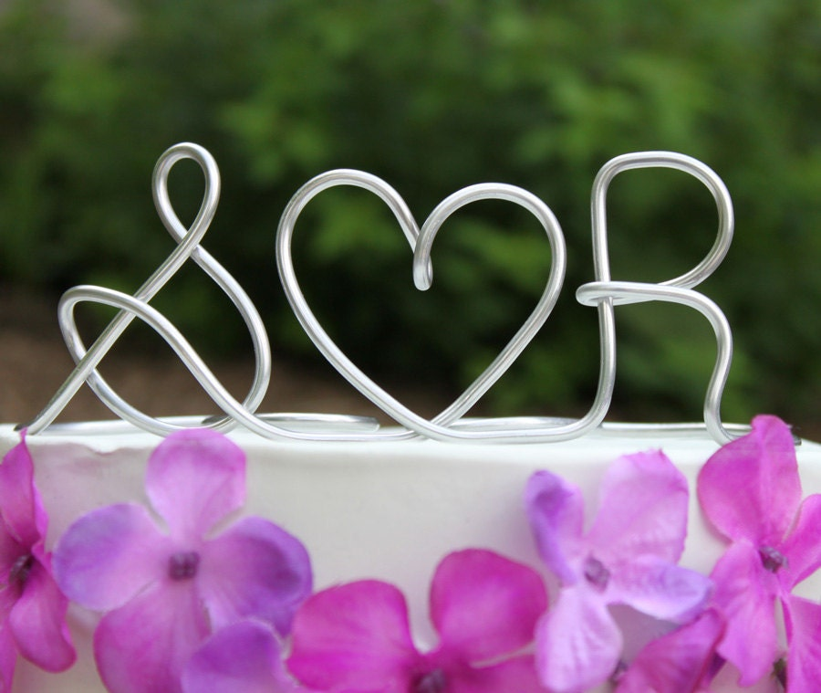 Custom Initials Heart Wire Wedding Cake Topper