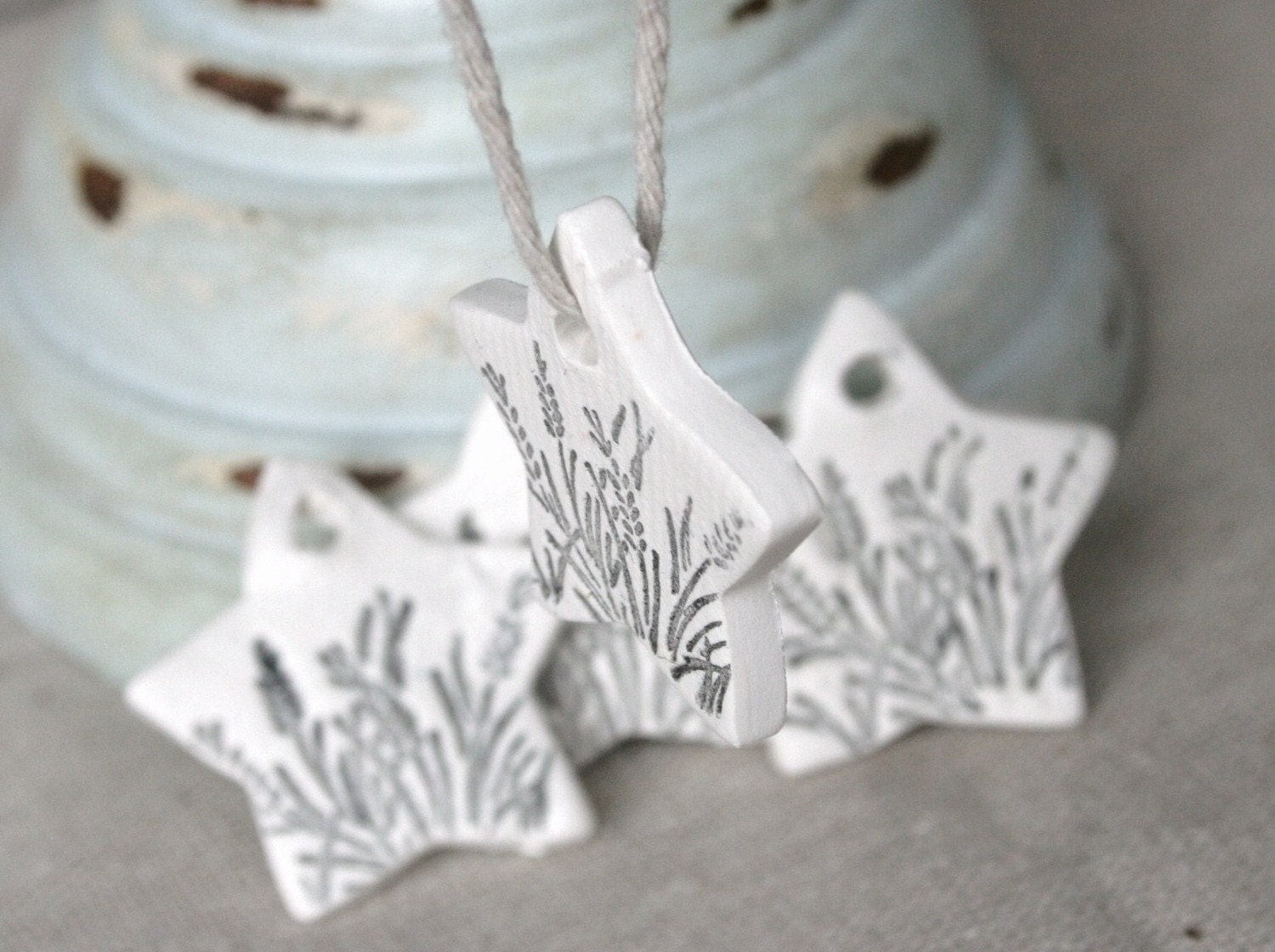Sprigs of Grass Stamped Clay Mini Tag set of 2