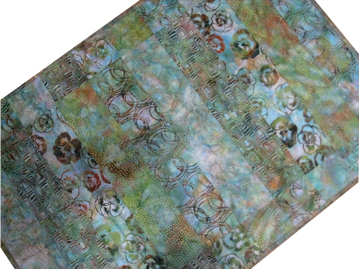 Quilted Table Topper in Blue and Green Printed Batiks - Sieberdesigns