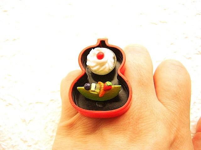 Фрукты кольцо Мороженое Kawaii продовольственная