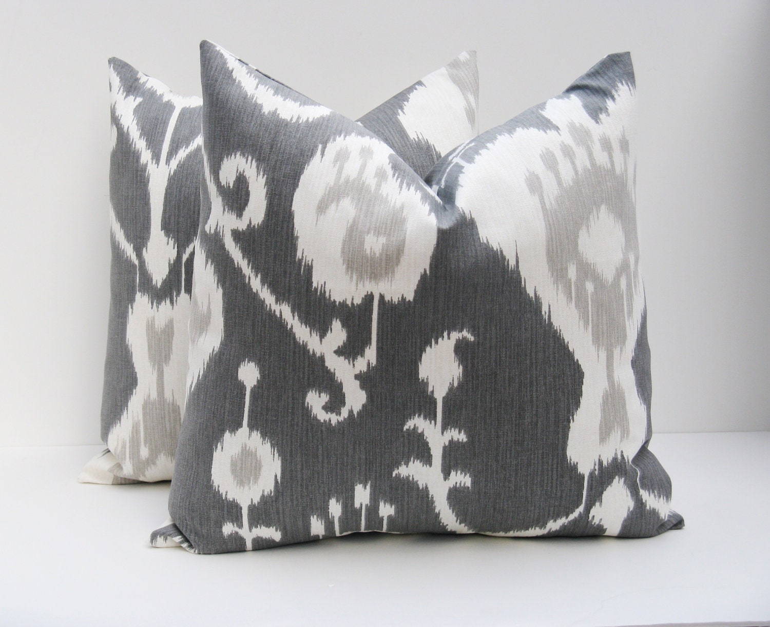 20x20 Throw Pillow Covers.Ikat Pillow.Dark Gray Pillow.Grey Ikat pillow. Gray and White.Housewares.Home Decor Printed fabric on both sides