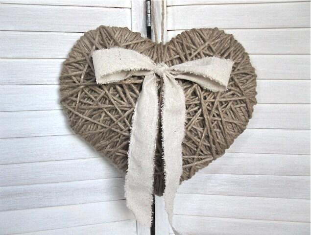 BIG Heartstrings - 14-дюймовый сердце джута - Валентина, свадьбы, душа ребенка, домашнего декора, декора стен