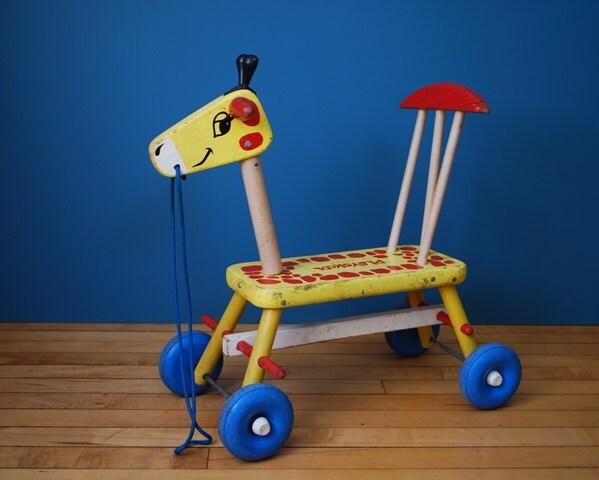 Vintage 1950s/1960s Playskool Wooden Giraffe Toddler Ride On Toy - SweetShopVintage