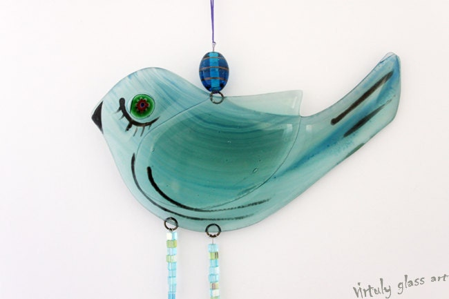 fused glass  Windchime / Suncatcher bird in Blue green - virtulyglass