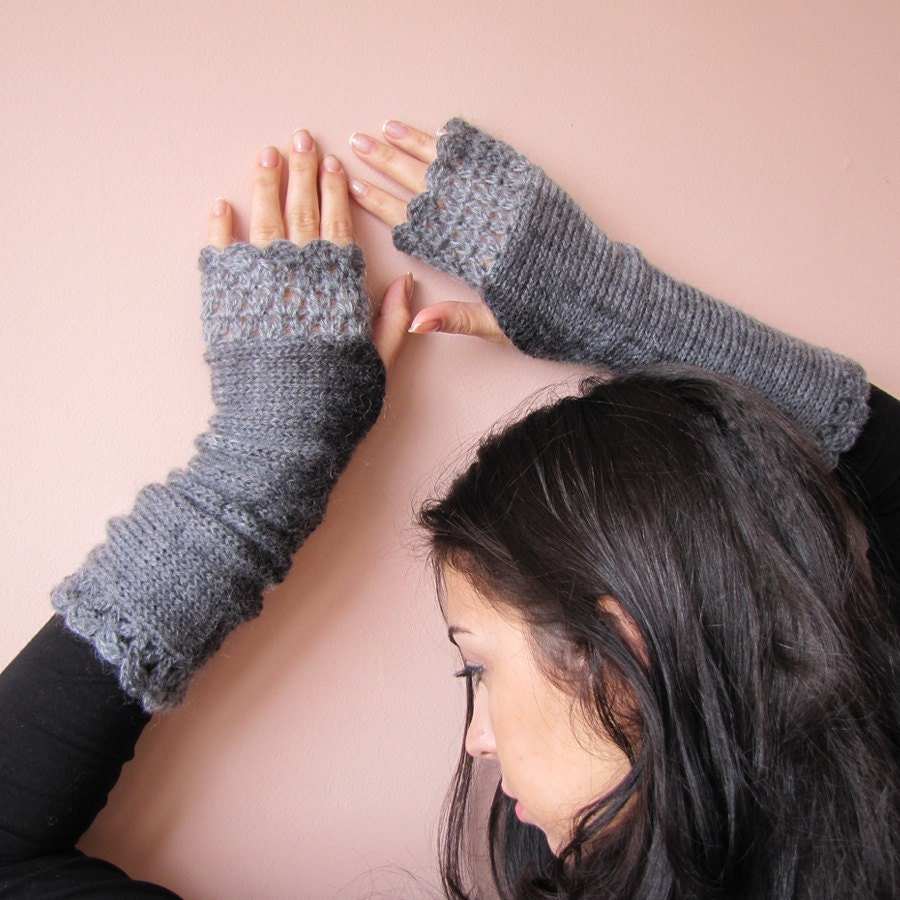 Elegant Hand knitted Fingerless Gloves in charcoal and grey shades - elfinhouse