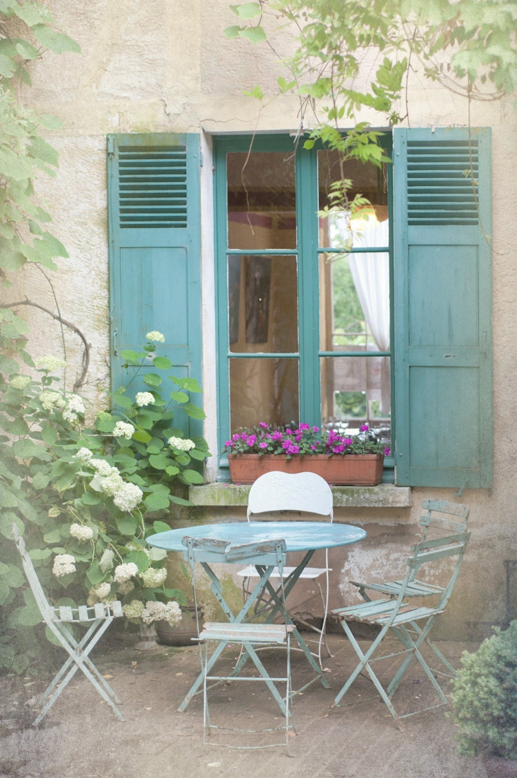Blue Shutters Bistro Tables Country Photo Outdoor