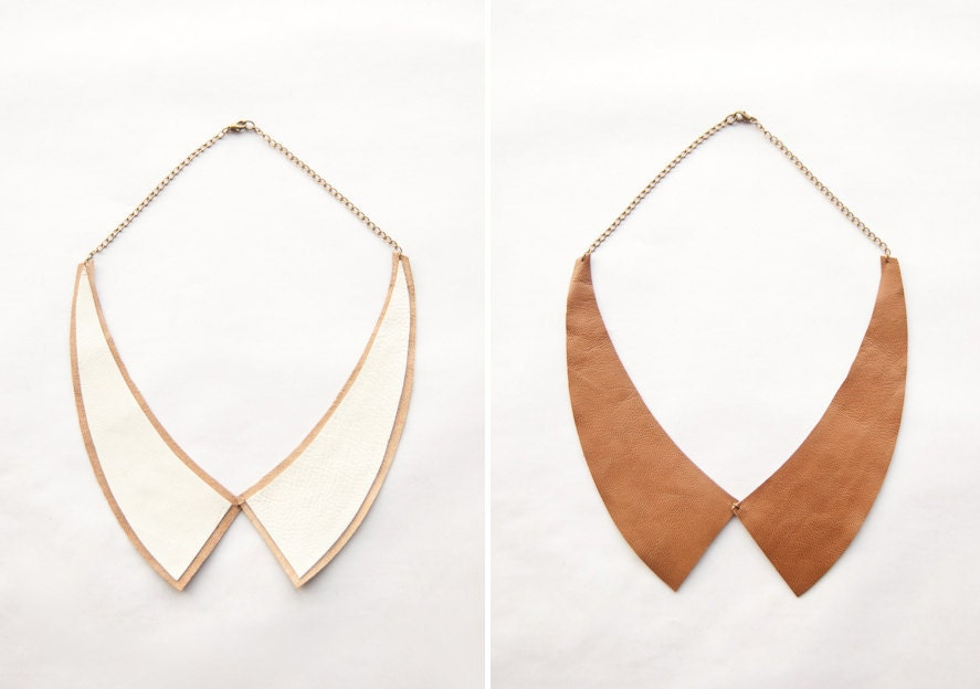 Alexa -- Reversible Leather Peter Pan COLLAR Necklace - Made to Order - AmprisLoves