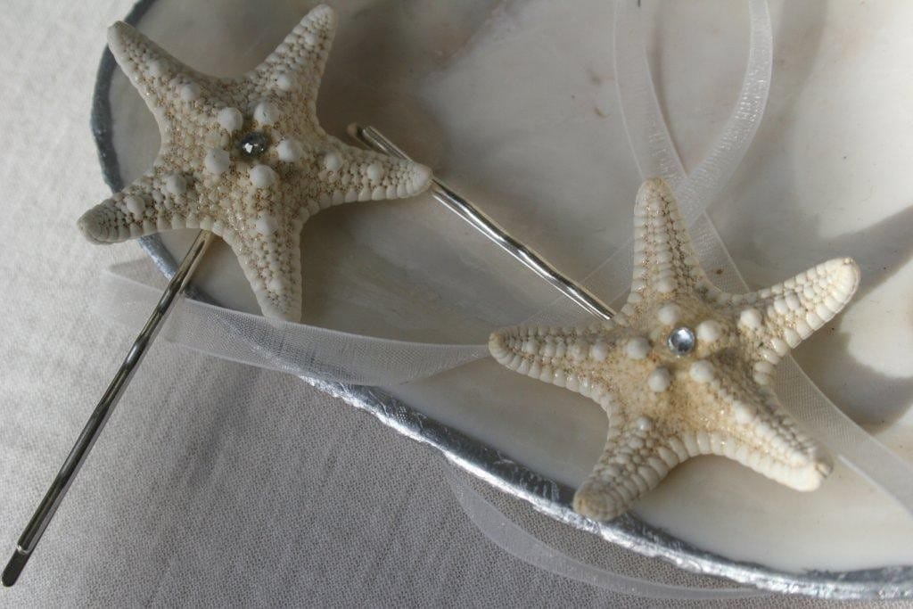 Genuine White Sea Star and Swarovski Crystal Hair Jewelry
