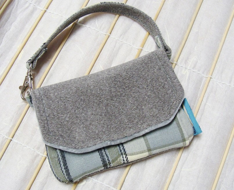Kyrie Cell Phone Purse - Blue Plaid and  Gray Wool with Velvet (Upcycled Materials) - CuppaFog