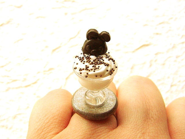 Cute Ice Cream Ring Chocolate Rabbit Lollipop Miniature Food Jewelry