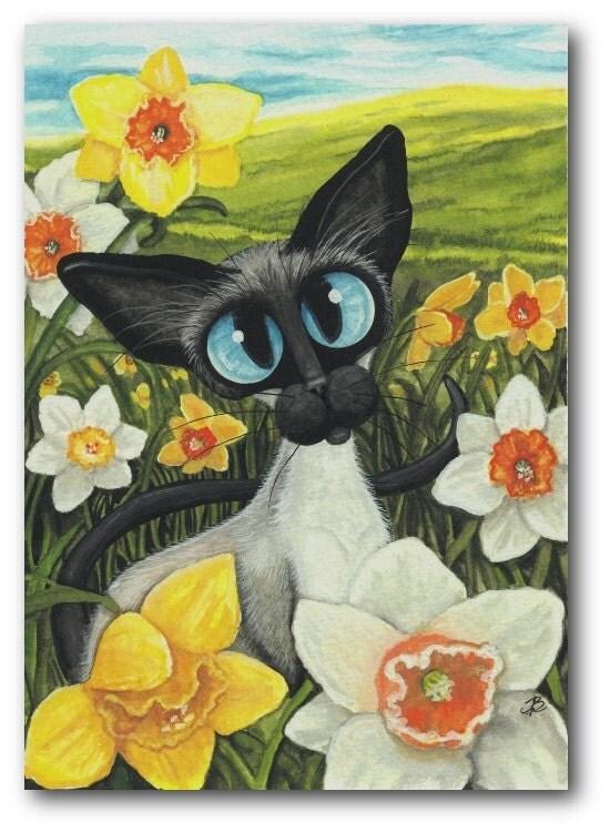 Daffodils Spring Easter Siamese Cat ArT - 5x7 Print by AmyLyn Bihrle - AmyLynBihrle