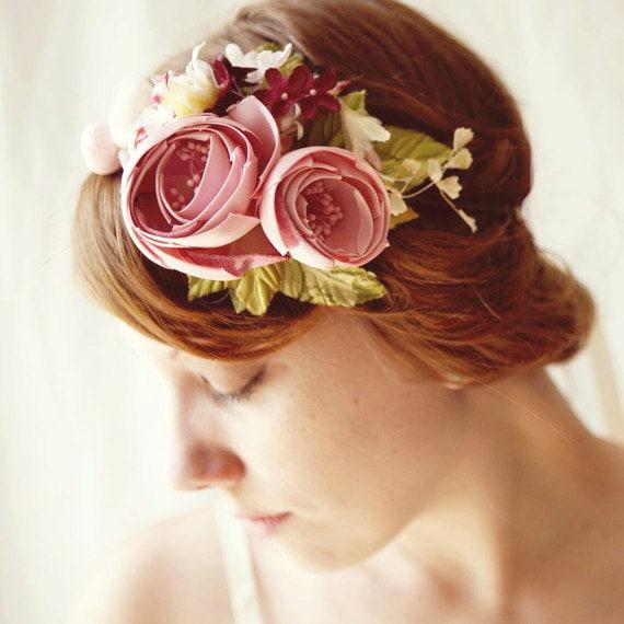 magenta hair crown, flower fascinator 'CAROUSEL' floral wedding head piece